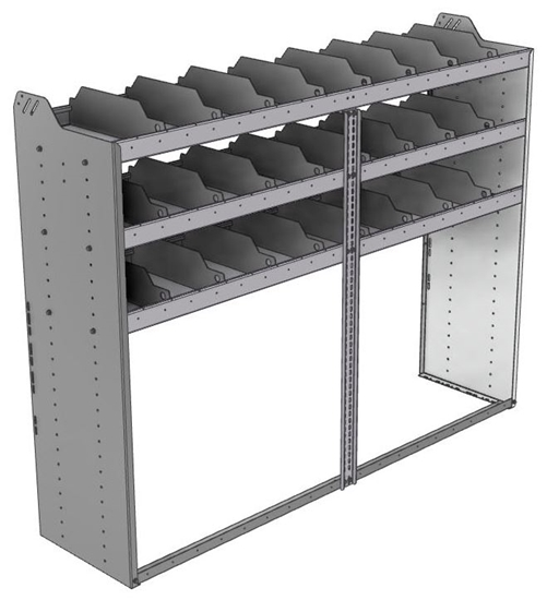 "24-7858-3 Square back bin separator combo shelf unit 75""Wide x 18.5""Deep x 58""High with 3 shelves"