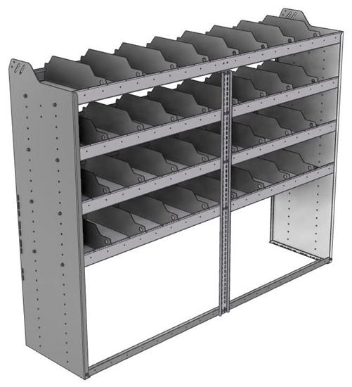 "24-7858-4 Square back bin separator combo shelf unit 75""Wide x 18.5""Deep x 58""High with 4 shelves"