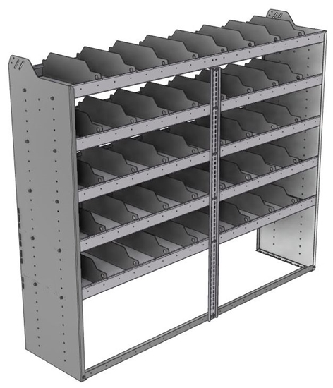 "24-7863-5 Square back bin separator combo shelf unit 75""Wide x 18.5""Deep x 63""High with 5 shelves"