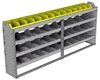 "24-8136-4 Square back bin separator combo shelf unit 84""Wide x 11.5""Deep x 36""High with 4 shelves"