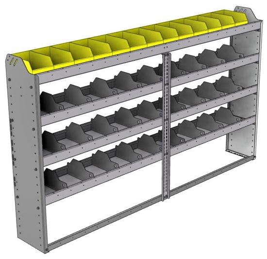 "24-8148-4 Square back bin separator combo shelf unit 84""Wide x 11.5""Deep x 48""High with 4 shelves"