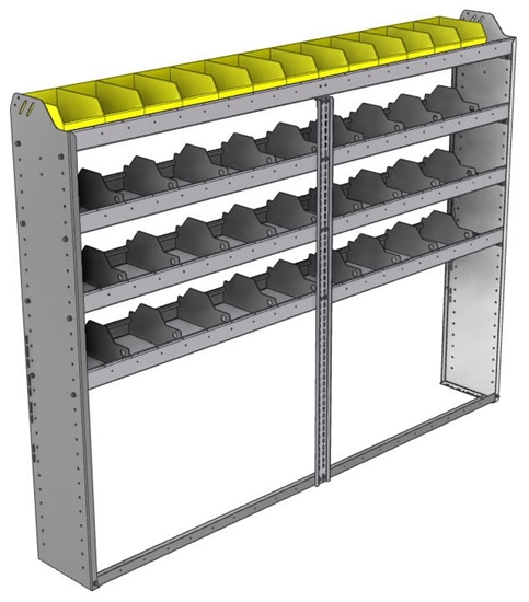 "24-8163-4 Square back bin separator combo shelf unit 84""Wide x 11.5""Deep x 63""High with 4 shelves"