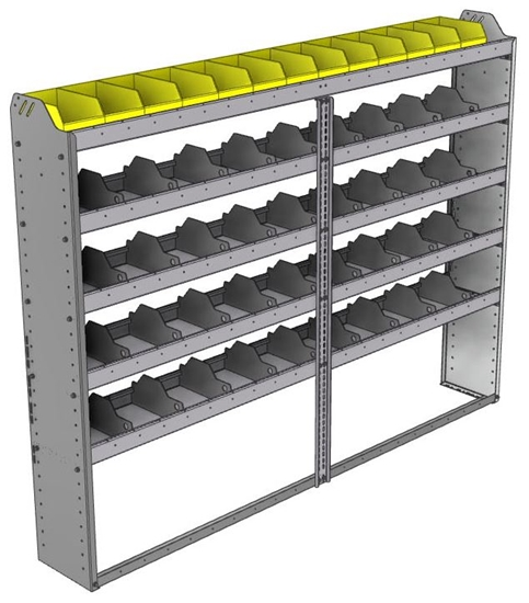 "24-8163-5 Square back bin separator combo shelf unit 84""Wide x 11.5""Deep x 63""High with 5 shelves"