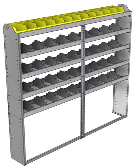 "24-8172-5 Square back bin separator combo shelf unit 84""Wide x 11.5""Deep x 72""High with 5 shelves"