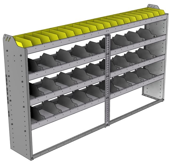 "24-8348-4 Square back bin separator combo shelf unit 84""Wide x 13.5""Deep x 48""High with 4 shelves"
