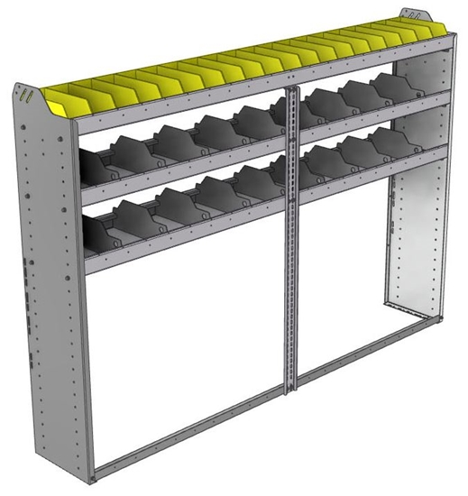 "24-8358-3 Square back bin separator combo shelf unit 84""Wide x 13.5""Deep x 58""High with 3 shelves"