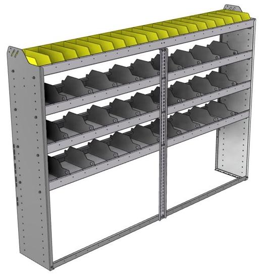 "24-8358-4 Square back bin separator combo shelf unit 84""Wide x 13.5""Deep x 58""High with 4 shelves"