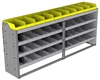"24-8536-4 Square back bin separator combo shelf unit 84""Wide x 15.5""Deep x 36""High with 4 shelves"