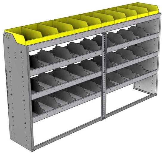 "24-8548-4 Square back bin separator combo shelf unit 84""Wide x 15.5""Deep x 48""High with 4 shelves"