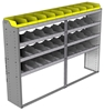 "24-8558-4 Square back bin separator combo shelf unit 84""Wide x 15.5""Deep x 58""High with 4 shelves"