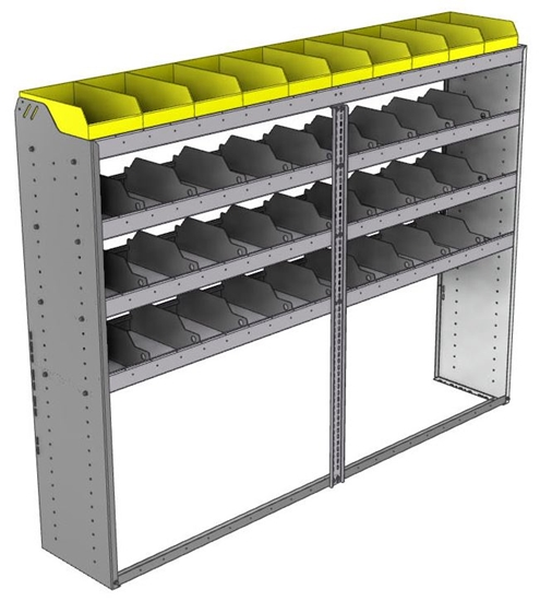 "24-8563-4 Square back bin separator combo shelf unit 84""Wide x 15.5""Deep x 63""High with 4 shelves"