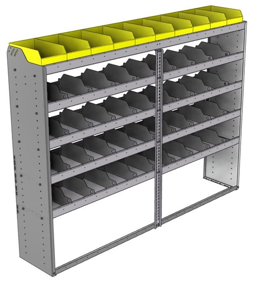 "24-8563-5 Square back bin separator combo shelf unit 84""Wide x 15.5""Deep x 63""High with 5 shelves"