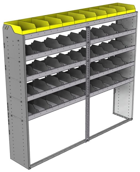 "24-8572-5 Square back bin separator combo shelf unit 84""Wide x 15.5""Deep x 72""High with 5 shelves"