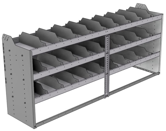"24-8836-3 Square back bin separator combo shelf unit 84""Wide x 18.5""Deep x 36""High with 3 shelves"