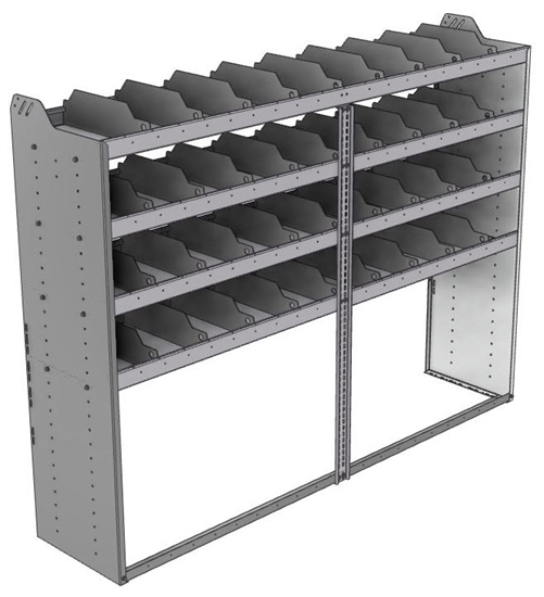 "24-8863-4 Square back bin separator combo shelf unit 84""Wide x 18.5""Deep x 63""High with 4 shelves"