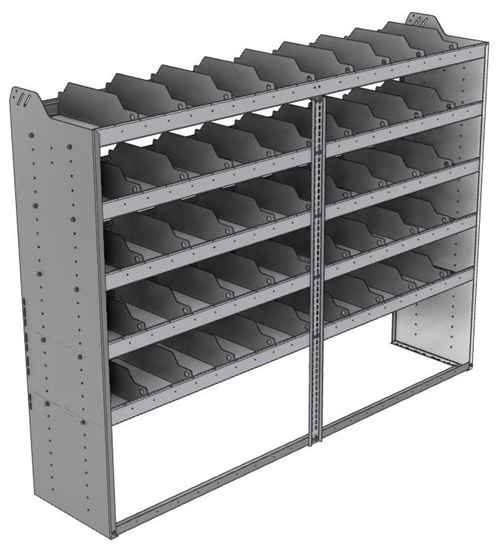 "24-8863-5 Square back bin separator combo shelf unit 84""Wide x 18.5""Deep x 63""High with 5 shelves"