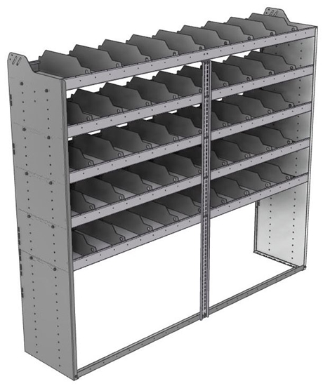 "24-8872-5 Square back bin separator combo shelf unit 84""Wide x 18.5""Deep x 72""High with 5 shelves"