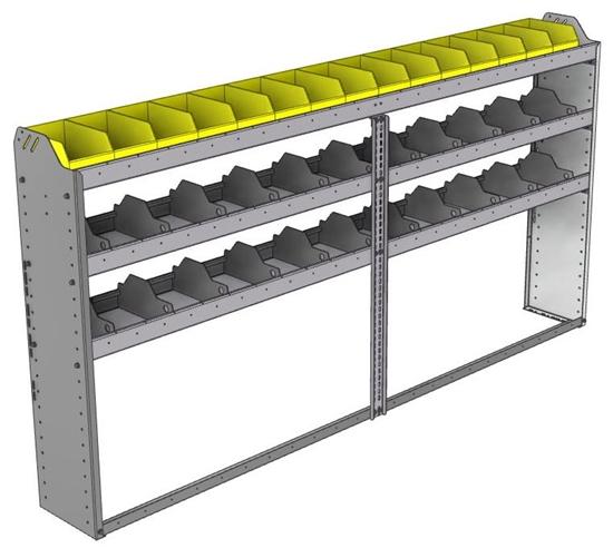 "24-9148-3 Square back bin separator combo shelf unit 94""Wide x 11.5""Deep x 48""High with 3 shelves"