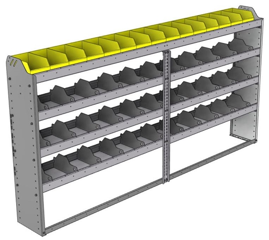 "24-9148-4 Square back bin separator combo shelf unit 94""Wide x 11.5""Deep x 48""High with 4 shelves"