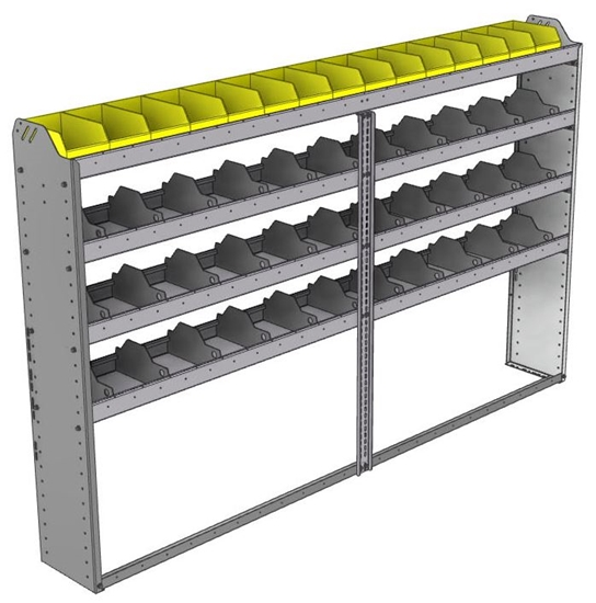 "24-9158-4 Square back bin separator combo shelf unit 94""Wide x 11.5""Deep x 58""High with 4 shelves"