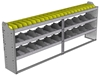 "24-9336-3 Square back bin separator combo shelf unit 94""Wide x 13.5""Deep x 36""High with 3 shelves"