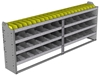 "24-9336-4 Square back bin separator combo shelf unit 94""Wide x 13.5""Deep x 36""High with 4 shelves"