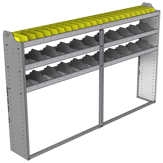 "24-9358-3 Square back bin separator combo shelf unit 94""Wide x 13.5""Deep x 58""High with 3 shelves"