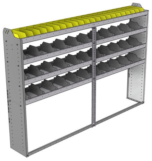 "24-9363-4 Square back bin separator combo shelf unit 94""Wide x 13.5""Deep x 63""High with 4 shelves"