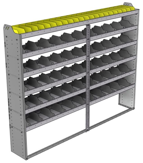 "24-9372-6 Square back bin separator combo shelf unit 94""Wide x 13.5""Deep x 72""High with 6 shelves"