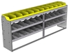 "24-9536-3 Square back bin separator combo shelf unit 94""Wide x 15.5""Deep x 36""High with 3 shelves"