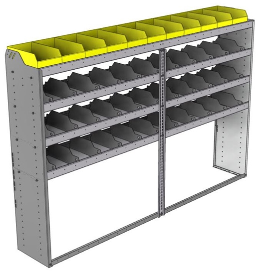 "24-9563-4 Square back bin separator combo shelf unit 94""Wide x 15.5""Deep x 63""High with 4 shelves"