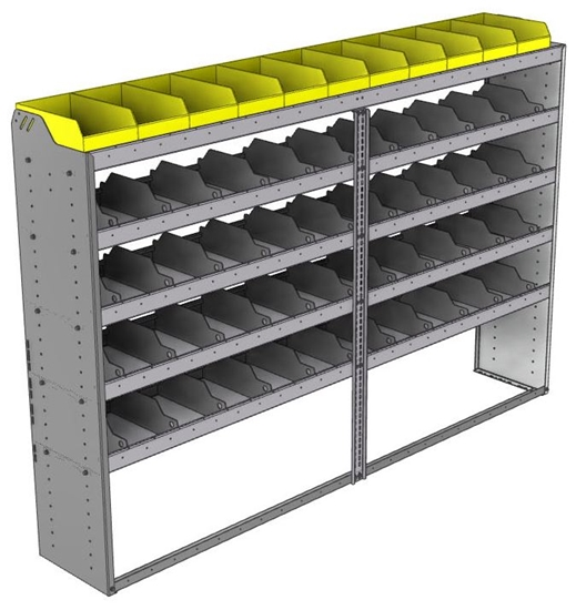 "24-9563-5 Square back bin separator combo shelf unit 94""Wide x 15.5""Deep x 63""High with 5 shelves"