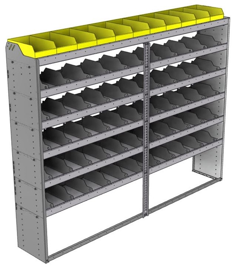 "24-9572-6 Square back bin separator combo shelf unit 94""Wide x 15.5""Deep x 72""High with 6 shelves"