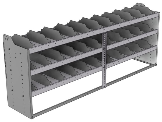 "24-9836-3 Square back bin separator combo shelf unit 94""Wide x 18.5""Deep x 36""High with 3 shelves"