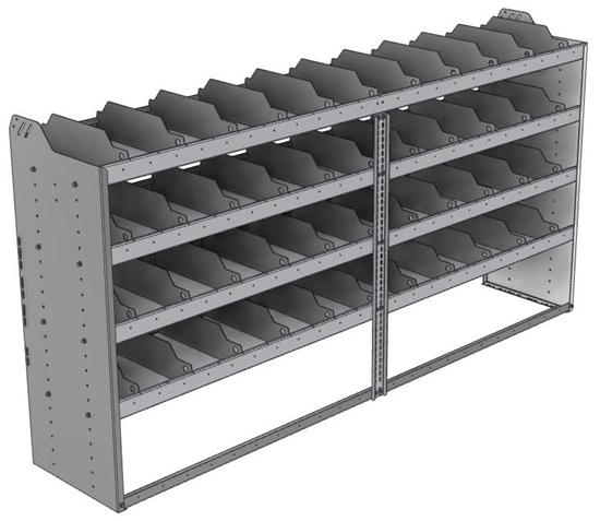 "24-9848-4 Square back bin separator combo shelf unit 94""Wide x 18.5""Deep x 48""High with 4 shelves"