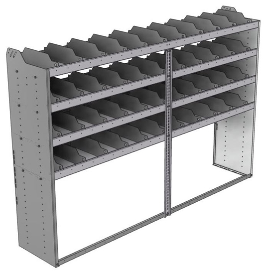 "24-9863-4 Square back bin separator combo shelf unit 94""Wide x 18.5""Deep x 63""High with 4 shelves"