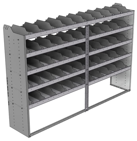 "24-9863-5 Square back bin separator combo shelf unit 94""Wide x 18.5""Deep x 63""High with 5 shelves"