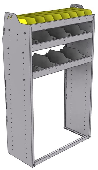 "25-3558-3 Profiled back bin separator combo Shelf unit 34.5""Wide x 15.5""Deep x 58""High with 3 shelves"