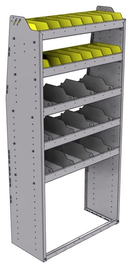 "25-3572-5 Profiled back bin separator combo Shelf unit 34.5""Wide x 15.5""Deep x 72""High with 5 shelves"