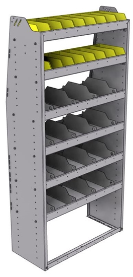 "25-3572-6 Profiled back bin separator combo Shelf unit 34.5""Wide x 15.5""Deep x 72""High with 6 shelves"