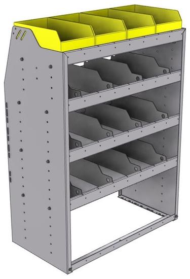 "25-3848-4 Profiled back bin separator combo Shelf unit 34.5""Wide x 18.5""Deep x 48""High with 4 shelves"