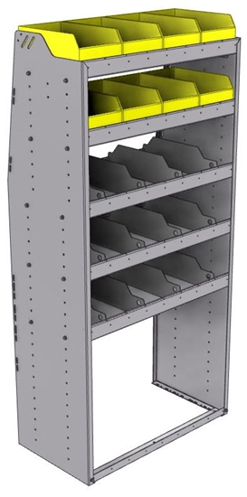 "25-3872-5 Profiled back bin separator combo Shelf unit 34.5""Wide x 18.5""Deep x 72""High with 5 shelves"