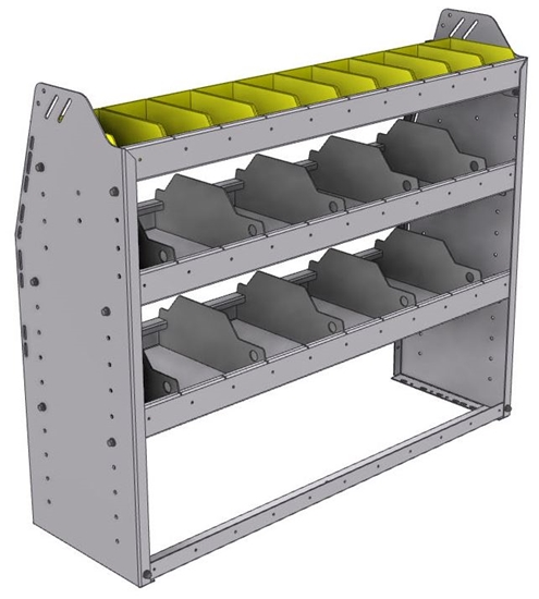 "25-4336-3 Profiled back bin separator combo Shelf unit 43""Wide x 13.5""Deep x 36""High with 3 shelves"