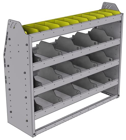 "25-4336-4 Profiled back bin separator combo Shelf unit 43""Wide x 13.5""Deep x 36""High with 4 shelves"