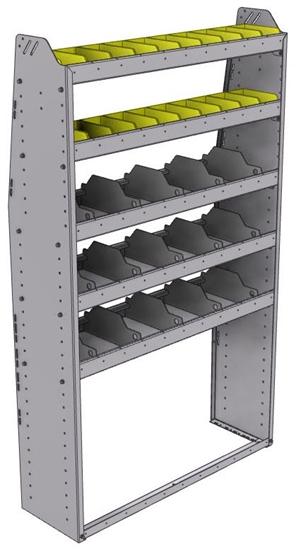 "25-4372-5 Profiled back bin separator combo Shelf unit 43""Wide x 13.5""Deep x 72""High with 5 shelves"