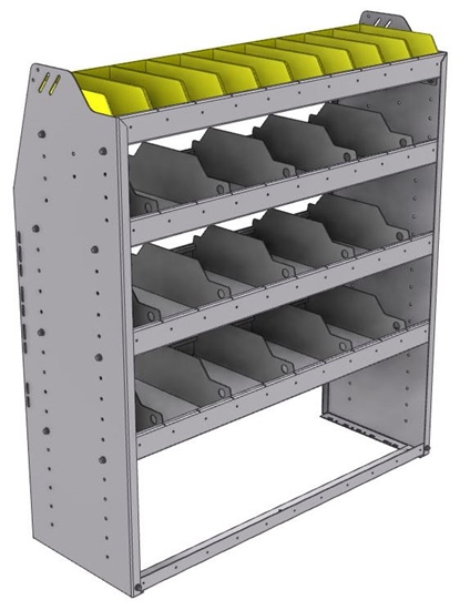 "25-4548-4 Profiled back bin separator combo Shelf unit 43""Wide x 15.5""Deep x 48""High with 4 shelves"