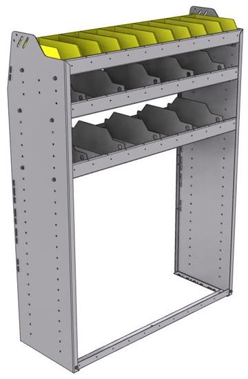 "25-4558-3 Profiled back bin separator combo Shelf unit 43""Wide x 15.5""Deep x 58""High with 3 shelves"