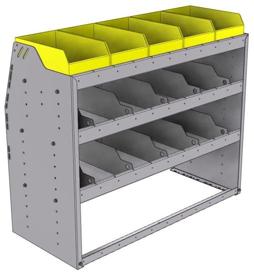 "25-4836-3 Profiled back bin separator combo Shelf unit 43""Wide x 18.5""Deep x 36""High with 3 shelves"