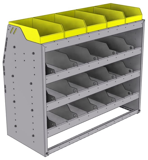 "25-4836-4 Profiled back bin separator combo Shelf unit 43""Wide x 18.5""Deep x 36""High with 4 shelves"