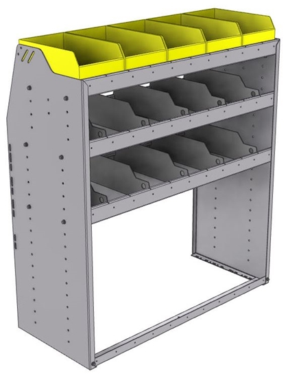 "25-4848-3 Profiled back bin separator combo Shelf unit 43""Wide x 18.5""Deep x 48""High with 3 shelves"